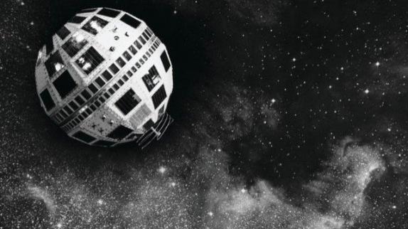 Satellite orbiting in space, Telstar, AT&T, c. 1962